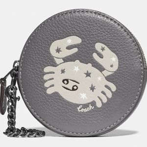 New Coach Zodiac Cancer Round Coin Case Purse